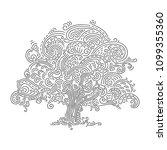 oak tree  vector doodle. hand... | Shutterstock .eps vector #1099355360