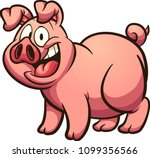 happy cartoon pig with big... | Shutterstock .eps vector #1099356566