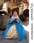 woman in medieval clothes... | Shutterstock . vector #1099356710