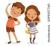 boys and girls. cute children... | Shutterstock .eps vector #1099357760