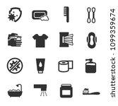 hygiene  monochrome icons set.... | Shutterstock .eps vector #1099359674