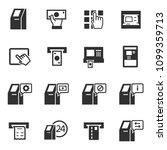 atm terminal  monochrome icons... | Shutterstock .eps vector #1099359713