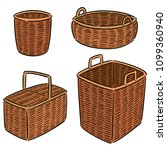 vector set of wicker basket | Shutterstock .eps vector #1099360940