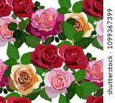 seamless pattern with roses.... | Shutterstock .eps vector #1099367399