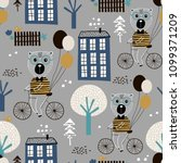 seamless childish pattern with... | Shutterstock .eps vector #1099371209