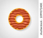 chocolate donut isolated on...   Shutterstock .eps vector #1099372400