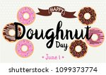 happy doughnut day card or... | Shutterstock .eps vector #1099373774