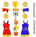 cheerleaders sport set. flat... | Shutterstock .eps vector #1099374506