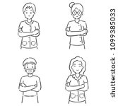 vector set of medical staff | Shutterstock .eps vector #1099385033