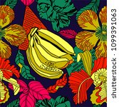 tropical pattern design with... | Shutterstock .eps vector #1099391063