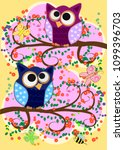 happy family of owls on... | Shutterstock . vector #1099396703