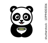 cute cartoon panda with cup of... | Shutterstock . vector #1099400306