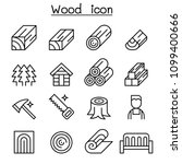 wood icon set in thin line style | Shutterstock .eps vector #1099400666
