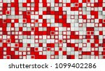 wall of red and white cubes.... | Shutterstock . vector #1099402286