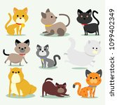 cat different pose | Shutterstock .eps vector #1099402349