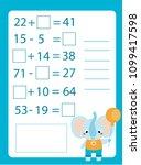 mathematics worksheet.... | Shutterstock .eps vector #1099417598