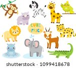 cute cartoon african animals... | Shutterstock .eps vector #1099418678