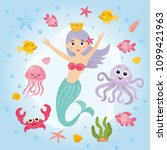 underwater kids illustration.... | Shutterstock .eps vector #1099421963