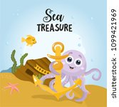 sea treasure. childish card... | Shutterstock .eps vector #1099421969