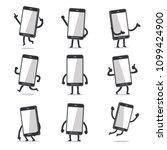 cartoon smartphone character... | Shutterstock .eps vector #1099424900