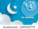 happy eid mubarak greeting card ... | Shutterstock .eps vector #1099425779