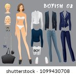 body template with outfits and... | Shutterstock .eps vector #1099430708