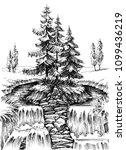 alpine waterfall. mountain... | Shutterstock .eps vector #1099436219