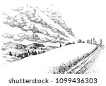 idyllic landscape sketch. small ... | Shutterstock .eps vector #1099436303
