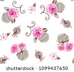 Roses Pattern With Striped...
