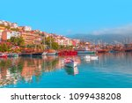 panoramic view of alanya harbor ...   Shutterstock . vector #1099438208