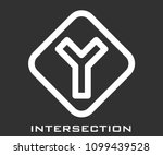 intersection icon vector | Shutterstock .eps vector #1099439528