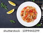 pasta spaghetti with shrimps ... | Shutterstock . vector #1099443299