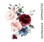 watercolor flowers. floral... | Shutterstock . vector #1099443734
