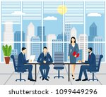 business meeting  signing a... | Shutterstock .eps vector #1099449296