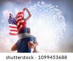 Patriotic Holiday Child Sitting Shoulders - Fine Art prints