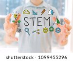stem with young man holding his ... | Shutterstock . vector #1099455296