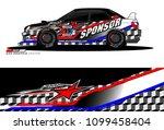 rally car vector livery.... | Shutterstock .eps vector #1099458404
