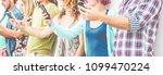 hands view of people using... | Shutterstock . vector #1099470224