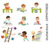smart little kids reading books ... | Shutterstock .eps vector #1099470830