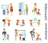 Kids good manners set, polite children helping adults, giving way to transport, thanking each other vector Illustrations isolated on a white background.