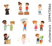 kind and fair little children... | Shutterstock .eps vector #1099470866