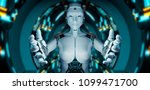 white woman cyborg opening her...   Shutterstock . vector #1099471700
