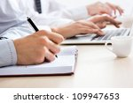 businessman's hand writing in a ... | Shutterstock . vector #109947653