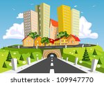 colorful abstract city | Shutterstock .eps vector #109947770