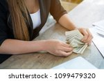Woman Hands Counting Us Dollar...