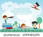 back to school  kids school ... | Shutterstock .eps vector #1099481690