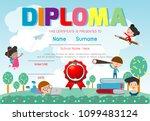 certificates kindergarten and... | Shutterstock .eps vector #1099483124