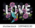 embroidery hummingbird  love ... | Shutterstock .eps vector #1099483130