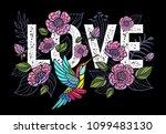 embroidery hummingbird  love ... | Shutterstock .eps vector #1099483130