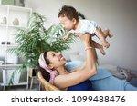 happy childhood concept. indoor ... | Shutterstock . vector #1099488476